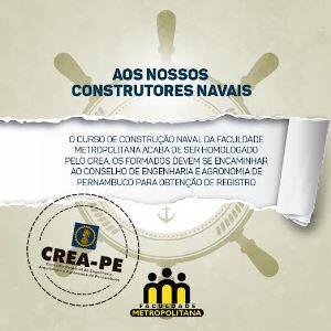 Crea-PE registra tecnólogos em construção naval da Faculdade Metropolitana