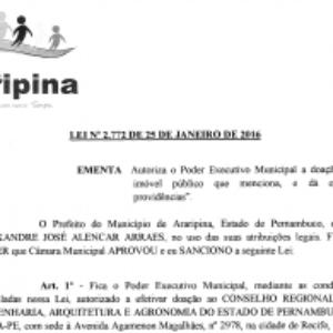 Prefeitura de Araripina doa terreno para construção da sede própria da Inspetoria do Crea-PE