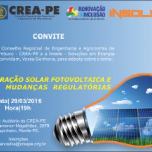 Geração de Energia Solar será tema de palestra desta terça no Crea-PE