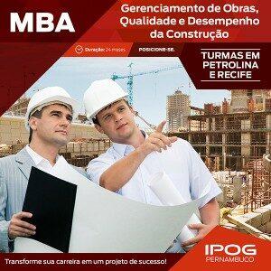 Ipog oferece MBA de Gerenciamento de Obras, Qualidade e Desempenho da Construção
