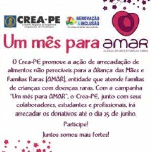 """Crea-PE lança campanha """"Um mês para AMAR"""""""