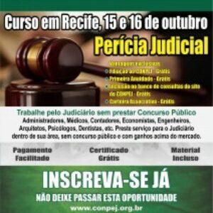 Inscrições abertas para curso de Perícia Judicial do Conpej