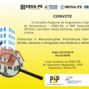 Crea-PE promove debate sobre vistorias, manutenções, deveres e obrigações dos Síndicos e Administradoras.