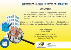 Read more about the article Crea-PE promove debate sobre vistorias, manutenções, deveres e obrigações dos Síndicos e Administradoras.