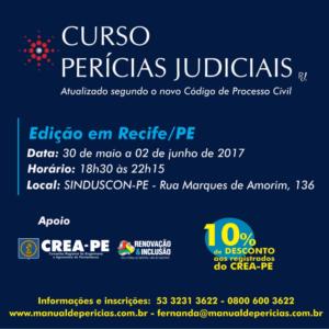 Rui Juliano realiza, no Recife, com apoio do CREA-PE o curso de Perícias Judiciais
