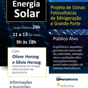 Curso abordará Energia Solar – Projeto de Usinas Fotovoltaicas de Minigeração e Grande Porte