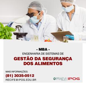 IPOG abre inscrições para curso de MBA em Engenharia de Sistemas de Gestão da Segurança em Alimentos