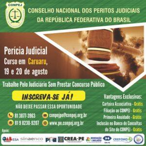 CONPEJ oferece curso de Perícia Judicial em Caruaru