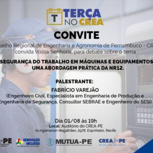 Assuntos envolvendo Segurança do Trabalho em Máquinas e Equipamentos serão abordados no próximo Terça no CREA