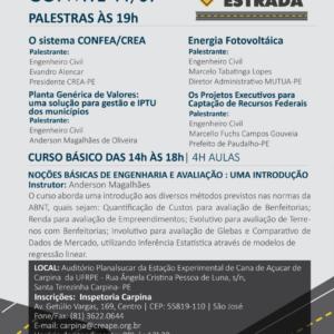 O 7º CREA na Estrada acontece em Carpina na próxima terça-feira