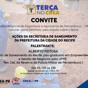 Terça no CREA recebe Secretário de Saneamento do Recife para a próxima palestra