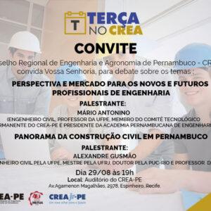 Assuntos relacionados ao mercado para engenheiros e panorama da Construção Civil, serão debatidos no próximo Terça no CREA