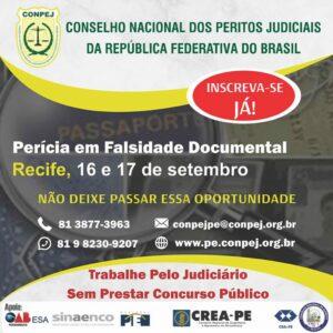 CONPEJ realiza em Recife, curso de Perícia em Falsidade Documental