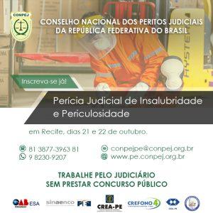 Curso de Perícia em Insalubridade e Periculosidade será oferecido pelo Conpej