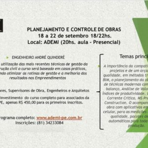 ADEMI-PE realiza curso de Planejamento e Controle Físico-financeiro de Obras