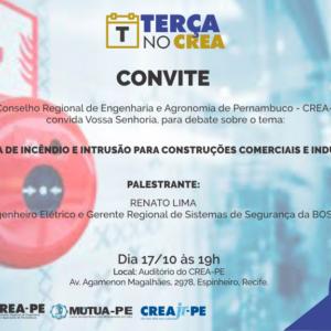 O Terça no CREA de amanhã (17) tem como tema o Sistema de incêndio e intrusão para construções comerciais e industriais