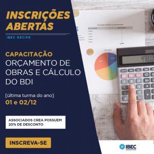 IBEC inscreve para curso de Orçamento de Obras e Cálculo do BDI