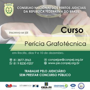 Conpej oferece curso de Perícia Grafotécnica no Recife
