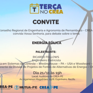 Energia Eólica é tema do Terça no CREA