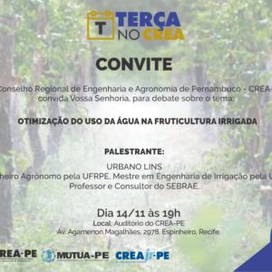 Otimização do uso da água na fruticultura irrigada será tema do Terça no CREA de amanhã