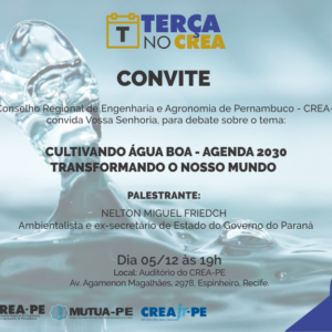 A qualidade da água será debatida no Terça no Crea por palestrante premiado pela ONU