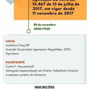 Sinaenco promove palestra sobre Reforma Trabalhista no auditório do CREA-PE