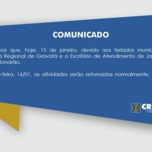 Comunicado – feriados municipais (Gravatá e Jaboatão)