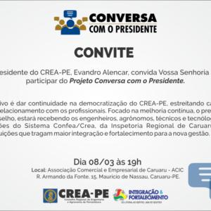 Caruaru receberá Conversa com o Presidente, projeto do CREA-PE