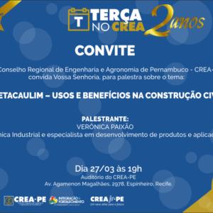 Terça no CREA trará palestra sobre usos e benefícios do Metacaulim na construção civil