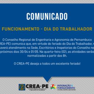 Comunicado – Funcionamento Dia do Trabalhador
