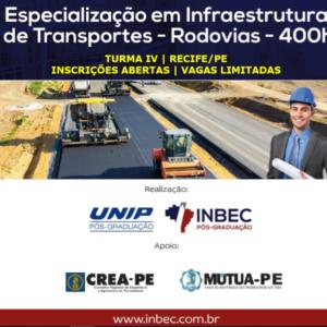 INBEC oferece especialização em Infraestrutura de Transportes – Rodovias