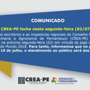 Comunicado – Não funcionamento do CREA-PE no dia 02/07