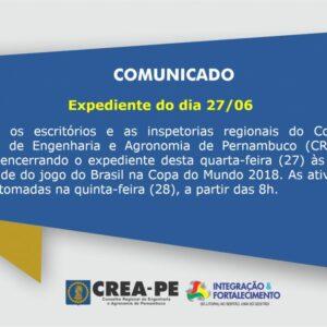 Expediente do dia 27/06/2018