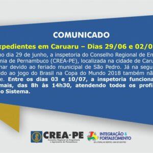 Comunicado – Expedientes em Caruaru nos dias 29/06 e 02/07