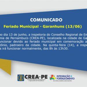 Feriado Municipal – Garanhuns (13/06)