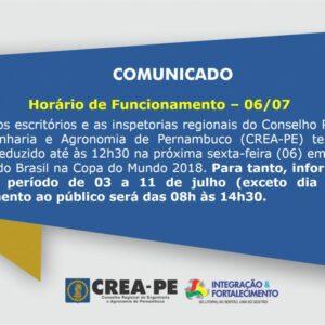 Comunicado – Expediente no dia 06/07