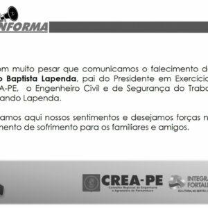 CREA-PE lamenta a morte do pai do Presidente em exercício, Fernando Lapenda