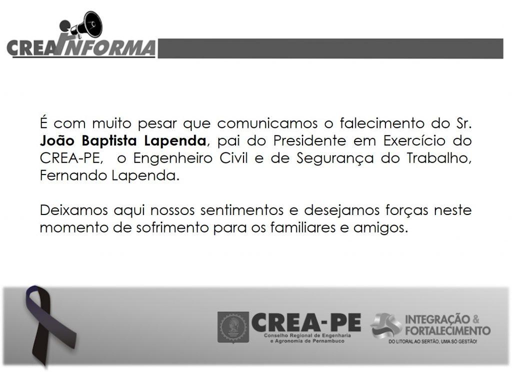 Read more about the article CREA-PE lamenta a morte do pai do Presidente em exercício, Fernando Lapenda