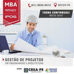 MBA em Gestão de Projetos em Engenharias e Arquitetura da PRAEVI IPOG prepara profissionais para o PMI