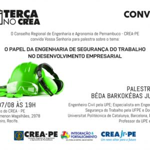 Projeto Terça no CREA retorna com palestra sobre Segurança do Trabalho