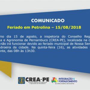 FERIADO MUNICIPAL – PETROLINA