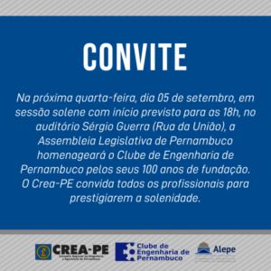 Convite – 100 anos do Clube de Engenharia de Pernambuco