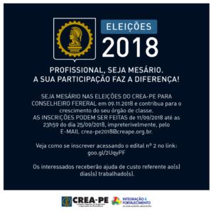 ELEIÇÕES 2018 – PROFISSIONAL SEJA MESÁRIO, SUA PARTICIPAÇÃO FAZ A DIFERENÇA!