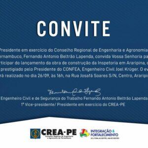 CONVITE – LANÇAMENTO DA OBRA DE CONSTRUÇÃO DA INSPETORIA DE ARARIPINA