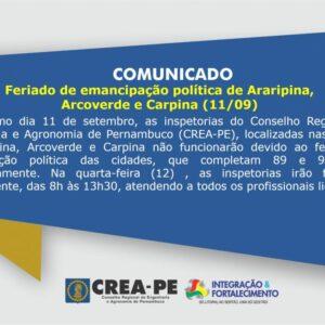 Feriado – Araripina, Arcoverde e Carpina