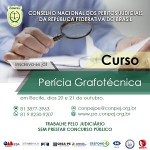 Conpej realiza nos dias 20 e 21 de outubro curso de Perito Grafotécnico