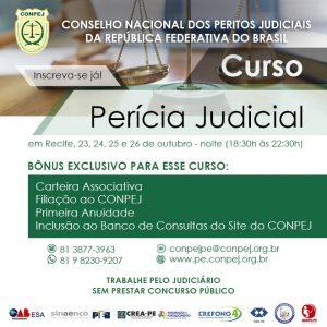 Conpej oferece curso de Perícia Judicial no turno da noite