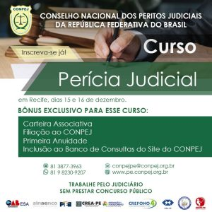 Inscrições abertas para o curso de Perícia Judicial do Conpej