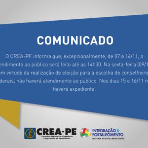 COMUNICADO – ATENDIMENTO CREA-PE