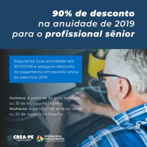 Crea-PE concederá aumento nos descontos da anuidade de 2019 para profissional sênior e portador de doença grave que resulte em incapacitação temporária para o exercício profissional